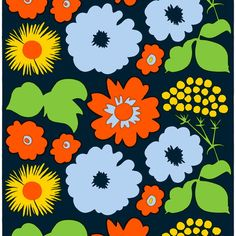 This printed cotton fabric features the vintage Kukkatori (Flower Market) pattern in dark blue, orange and blue. It was designed by Maija Isola in 1970 and was inspired by the abundance of colorful flowers found at a summer flower market. Marimekko Fabric, Modern Furniture Stores, Textile Company, Orange Fabric, Flower Market, Pillow Sale, Textile Design, Surface Design, Printing On Fabric