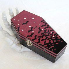 Coffin Box Decoupaged Coffin Halloween Decoration Jewelry Box Halloween Box Spooky Bats Swarovski Crystal Casket Goth Gothic Black Deep Red