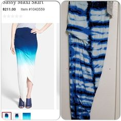 Young, Fabulous & Broke Sassy Maxi Skirt Beautiful tie dye print, soft material, sassy asymetrial hem with draping detail, great or the summer or even pair with boots in the spring. Young Fabulous & Broke Skirts Maxi