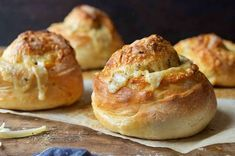 Gruyere Stuffed Crusty Loaves - These warm, crusty, chewy artisan loaves have a hidden secret inside: melted cheese. Scones, Little Lunch, Poblano, Gruyere Cheese, Loaf Recipes, Sourdough Recipes, Dinner Recipes, King Arthur Flour, Gastronomia