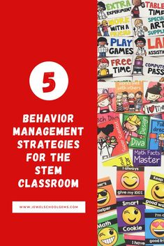 5 BEHAVIOR MANAGEMENT STRATEGIES FOR THE STEM CLASSROOM (OR ANY CLASSROOM FOR THAT MATTER) by Jewel's School Gems | No matter if you have an observation coming up, a particularly troublesome student, a challenging class or just want to improve your classroom management skills, these five positive behavior management ideas, strategies, and resources for elementary kids will be sure to help you have the best year ever! #stem
