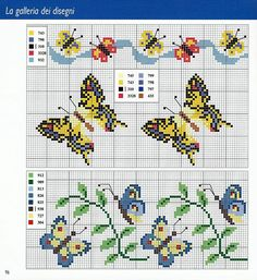 Spring Craft for kids: Toilet Paper Roll Butterfly Cross Stitch Boards, Cross Stitch Love, Beaded Cross Stitch, Cross Stitch Animals, Cross Stitch Designs, Cross Stitch Embroidery, Embroidery Patterns, Hand Embroidery, Cross Stitch Patterns