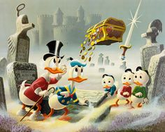 Scrooge McDuck, Donald Duck with Huey, Louie and Dewey Painting 2409x1923