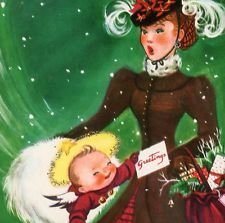 Vintage Christmas Capers Greeting Card Charlot Byj Cherub Victorian Lady EB6017