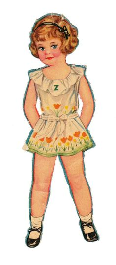 "This little doll was part of the set ""27 Dancing School Paper Dolls,"" published by Merrill in 1938. The Z on her ruffle I assume refers to her name, which I'm guessing is Zelda."