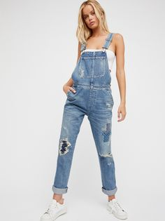 Quincey Denim Overalls | Made in an exclusive collaboration with Free People, these Citizen of Humanity overalls featuring beautiful Japanese-inspired Sashiko embroidery detailing.        * Authentic ridged premium denim    * Patchwork detail    * Adjustable straps    * Side buttons    * Four-pocket style