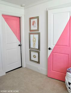 Diagonal Painted Office Doors via honey were home blog. Might be a quick way to add color to rented space.... Use interior vinyl instead of doing paint.