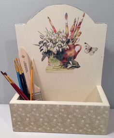 Decoupaged Cream Tavern Box for mail pens by PillowtasticPlus, $25.00