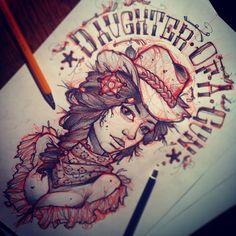 #tattoo #sketch #girl #wildwest