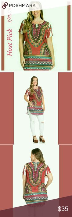 2X Host Pick!!!! Aztec Border Tunic 95% Polyester  5% Spandex. Top runs a little small according to their size. You may want to order one size up. ITY Tops Tunics