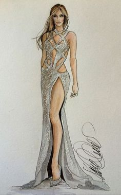 JLo in Charbel Zoe CoutureKaren Orr Illustration- Fashion. Dress Design Drawing, Dress Design Sketches, Fashion Design Sketchbook, Dress Drawing, Fashion Design Drawings, Fashion Sketches, Fashion Drawing Dresses, Fashion Illustration Dresses, Fashion Illustrations