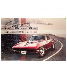 Corvette Sting Ray The Sports Car of the Future Zwaar Metalen Bord