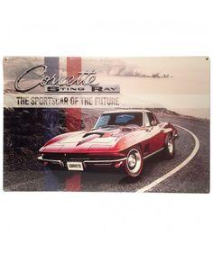 Corvette Sting Ray The Sports Car of the Future Zwaar Metalen Bord