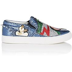 Marc Jacobs Women's Mercer Slip-On Sneakers ($350) ❤ liked on Polyvore featuring shoes, sneakers, blue, metallic shoes, marc jacobs shoes, glitter slip on shoes, colorful sneakers and blue sneakers