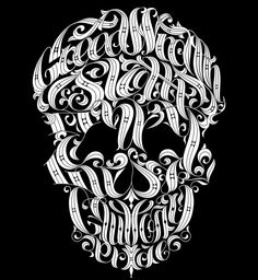 A master-work of typography by Joby Cummings, wherein each of the seven deadly sins are woven into the unmistakable likeness of a skull