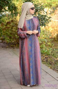 Şallı Pratik Namaz Elbisesi Saks Vizon