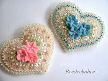 sparkles and flowers heart pins