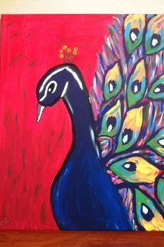 Beautiful, Bright, Peacock painting-original