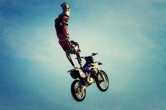 Motocross stunts.