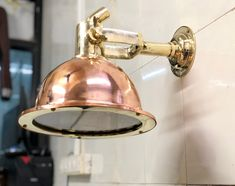 Nautical Marine Cargo Smooth Brass & Copper Pendant/Ceiling/Wall/Hanging Light Wall Hanging Lights, Hanging Pendants, Ceiling Lights, Brass Pendant Light, Kitchen Pendant Lighting, Pendant Lights, Nautical Lighting, Nautical Marine, Wall Mounted Light