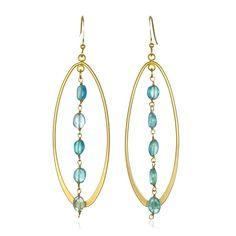 Apatite Gemstones dangle between 18kt Gold Vermeil Oval Hoops - Artisan Design Gallery
