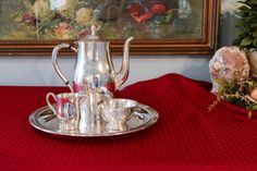 Paul Revere Style Silver Plate Tea Service with by PearlsParlor