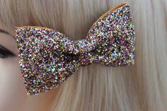 Rainbow Allsorts Gold Glitter Hair Bow Cute Kawaii Glitter Hair Bow Little Mix. £5.00, via Etsy.