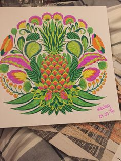 Millie marotta tropical wonderland colouring book.  Tropical fruits