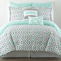 Mint and gray/black comforter set. I really really really love the comforter set
