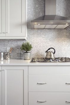 Metallic Finish - Modern Backsplash - Hexagon Tile - Bathroom Ideas - Kitchen Design: