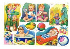 Vintage Die-cut Babies with Toys (Image1)
