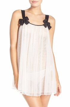 ab298b57bb Kate spade new york mesh babydoll chemise & briefs ivory $79
