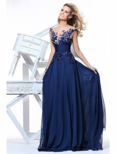 f3caf9a071 2014 New Fashion Embroider See Through V-neck Blue Chiffon Long Evening  Dress vestidos de fiesta Prom Gown Party Zuhair Murad