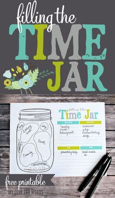 Need help prioritizing? Day to day life can be really hectic, and it can be easy to lose track of what really matters. This free printable is a great tool to use to figure out what's important and how to fill your time jar. Mason Jar Crafts, Mason Jars, Printable Planner, Free Printables, Life Organization, Organizing, Jar Gifts, Cool Diy Projects, Simple Living
