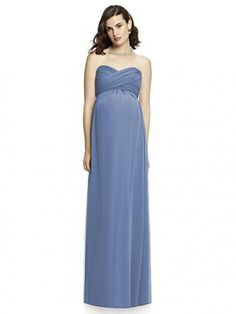 Style M426 from Dessy Collection is a strapless full length empire waist Lux Chiffon maternity bridesmaid dress with criss cross draped bodice and sash. There is a slight shirring at front and back of skirt. Optional spaghetti straps are included.