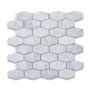 Stone Center Corp - Carrara Marble Elongated Hexagon Mosaic Tile Honed - Premium Grade White Carrara Marble Long Hexagon Mosaic tiles. Italian Bianco Carrera White Venato Carrara Honed 1-1/4x3 inch Elongated Hex Mosaic Wall & Floor Tiles are perfect for any interior/exterior projects. The Carrara White Marble Oblong Hexagon Mosaic tiles can be used for a kitchen backsplash, bathroom flooring, shower surround, countertop, dining room, entryway, corridor, balcony, spa, pool, fountain, etc.