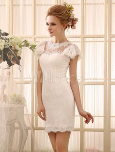 Ivory Wedding Dress Cut-Out Buttons Lace Short Wedding Gown Milanoo-No.3