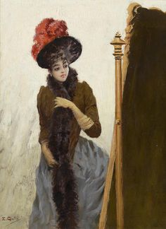 """In front of the swing mirror"" by Emile Gallé (1846-1904)."