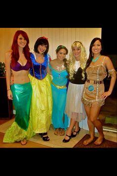 Disney princess group costume Wow! These girls did such a great job ;)  sc 1 st  Pinterest & DIY disney princess costumes | Halloween costumes | Pinterest ...