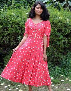 Clementine Red Floral Dressfrom the house of Anecdotes. All over printed in small white flowers, with Floral Dress Outfits, Red Floral Dress, Ikkat Dresses, Small White Flowers, Western Dresses, Short Sleeve Dresses, Classy, Formal, Casual