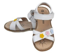 These little girls sandals from Atti & Anna have such a fresh summery look to them, with multi coloured flowers and girly styling.