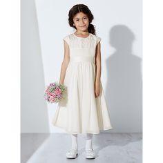 Buy John Lewis Girl Beaded Pleat Bridesmaid Dress, Ivory | John Lewis