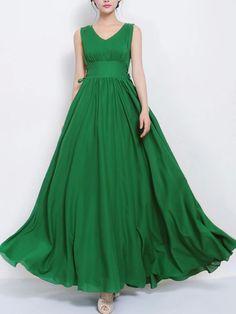 Robe Longue Mousseline Verte à Nœud | Choies
