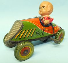 ANTIQUE PREWAR CY JAPAN TIN WIND UP TOY #1 RACE CAR RACER w/ CELLULOID DRIVER | Toys of Times Past