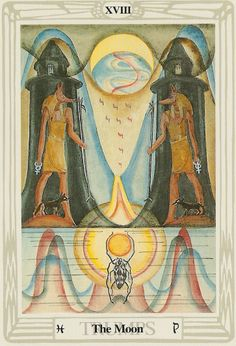 'The Moon' from the Thoth Tarot deck, painted by Lady Frieda Harris according to instructions from Aleister Crowley.
