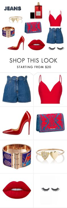 """""""Red And Jeans Look"""" by reagodo ❤ liked on Polyvore featuring Valentino, Rasario, Christian Louboutin, Miu Miu, Jennifer Meyer Jewelry, Lime Crime, Violet Voss and Diana Vreeland Parfums"""