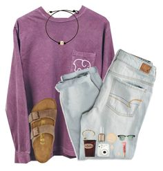 """""""I got the birks in this set today!! They're so comfy!"""" by cora-g77 ❤ liked on Polyvore featuring American Eagle Outfitters, Birkenstock, Fujifilm, Kendra Scott, Too Faced Cosmetics, Alex and Ani, Essie, Rimmel and Ray-Ban"""