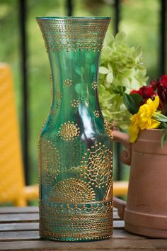 Hand Painted Henna inspired large vase with gold by TheArtStreet, $89.99