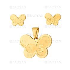 juego colgante y aretes de mariposa dorado acero inoxidable para chica 15 compleano -SSSTG544051
