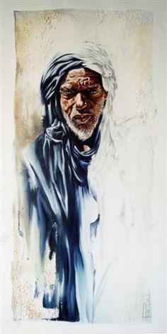 Sable bleu - Peinture,  40x80 cm ©2002 par Sonia Privat -                            Cultures du monde, Orient. Touareg. Sonia Privat